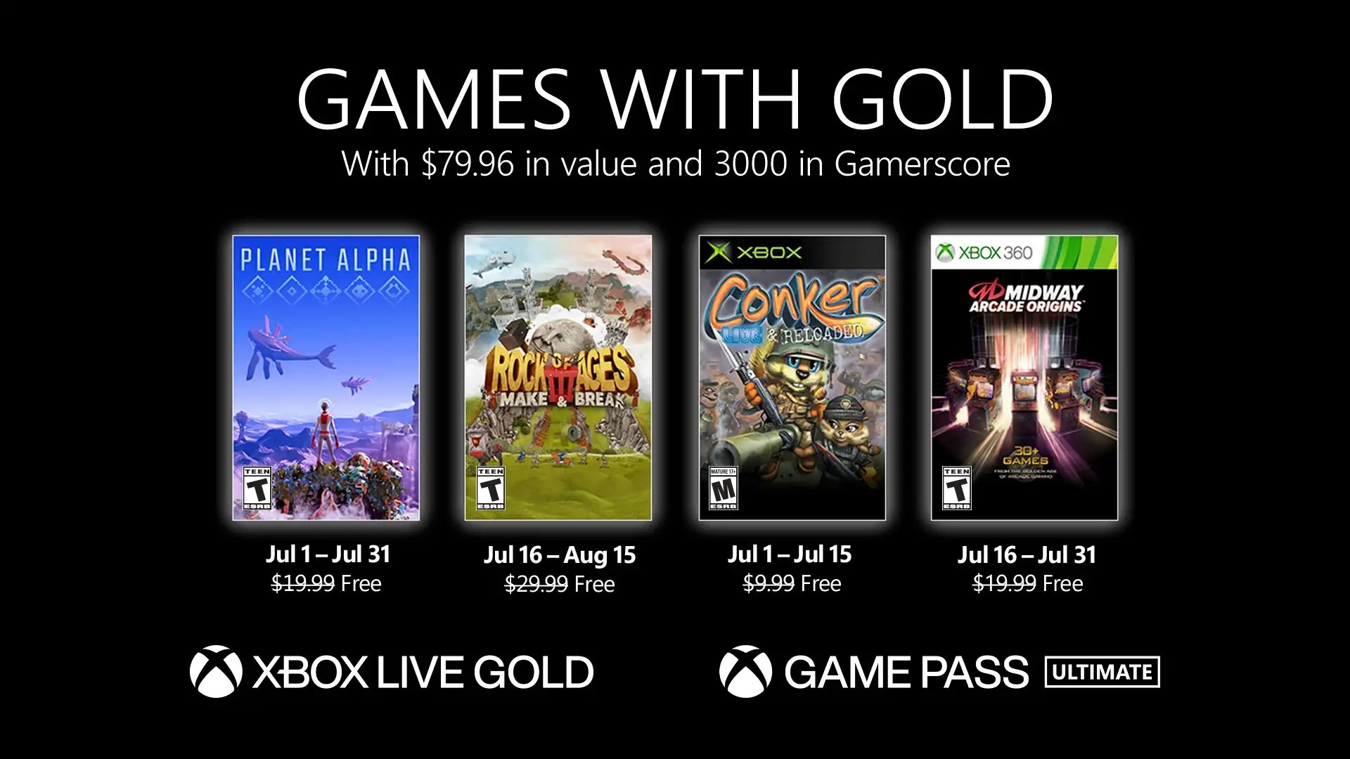 Xbox Games With Gold Júl 2021